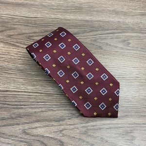Jos A Bank XL Maroon w/ Blue & Gold Check Tie